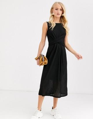 InWear Patzil twist front midi dress-Black