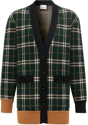Burberry Check Merino Wool Jacquard Cardigan