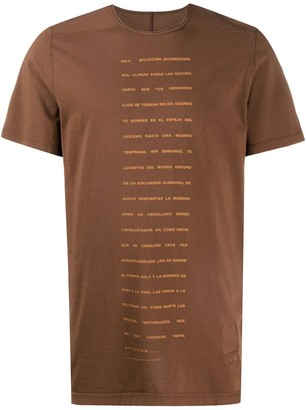 Rick Owens Poem-print short sleeved T-shirt