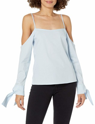 Lucca Couture Women's Camilla Cold Shoulder Tie Sleeve Top
