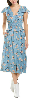 Rebecca Taylor Daniella Silk-Blend Midi Dress
