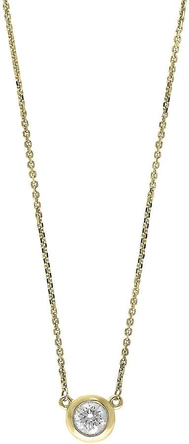 Effy Women's Doro Diamond and 14K Yellow Gold Bezel Pendant Necklace