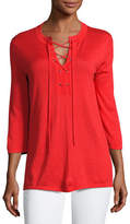 Neiman Marcus Superfine 3/4-Sleeve Lace-Up Tunic