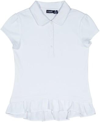 Chaps Girls 4-16 School Uniform Ruffled Polo