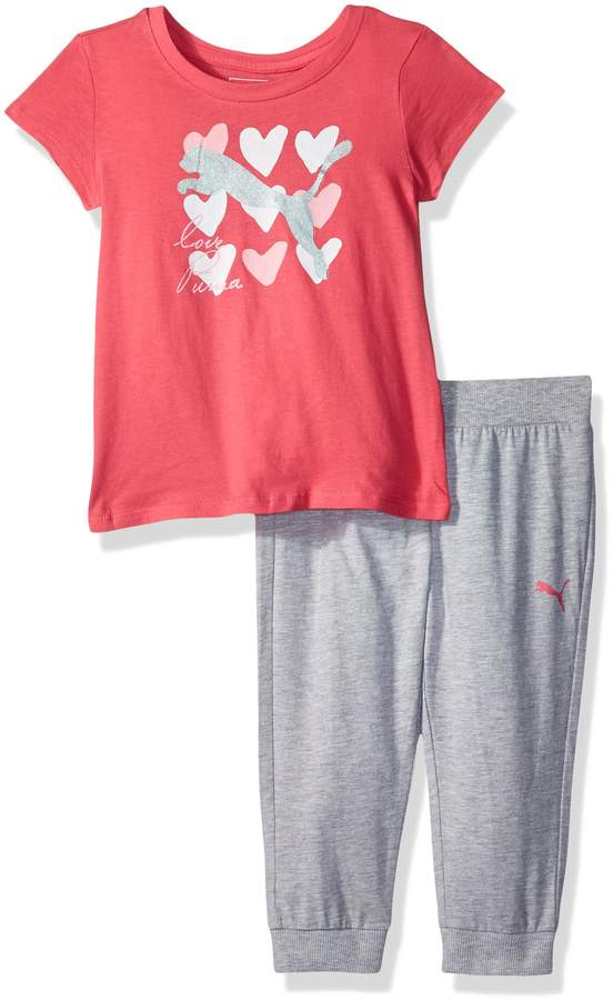 PUMA Girls Girls 2 Piece Jersey Tee /& Capri Set Leggings