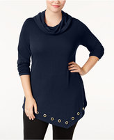 Belldini Plus Size Asymmetrical Cowl-Neck Top