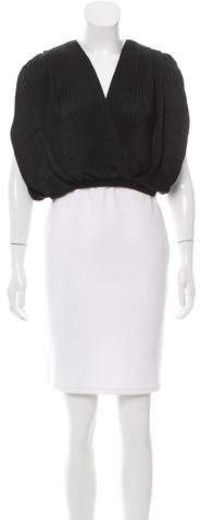 Tome Satin Pleated Wrap Top w/ Tags