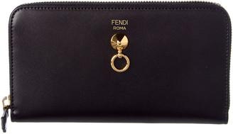 Fendi Dotcom Leather Zip Around Wallet