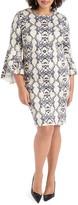 ELOQUII Snake Print Fit & Flare Scuba Dress