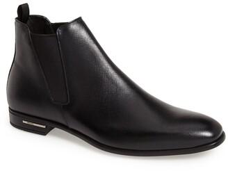 Prada Saffiano Leather Chelsea Boot