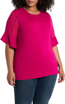 Vince Camuto Flutter Sleeve Mixed Media Top