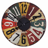 Asstd National Brand Vintage License Plates Wall Clock