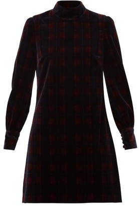Bella Freud Tartan Cotton-velvet Mini Dress - Burgundy