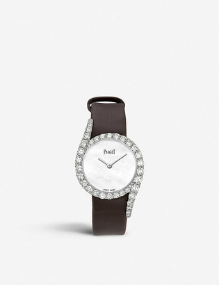 Piaget G0A44160 Limelight Gala diamond, 18ct white-gold and leather watch