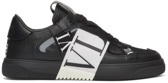 Valentino Black and White Garavani Elastic Low-Top Sneakers