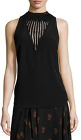 A.L.C. Alec Sleeveless Crochet-Trim Crepe Top, Black