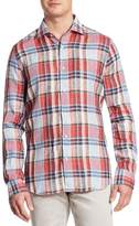 Saks Fifth Avenue Plaid Linen Shirt