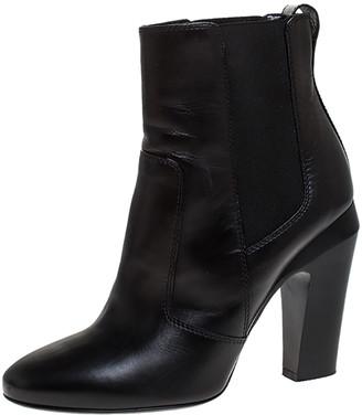 Fendi Black Leather Ankle Boots Size 37