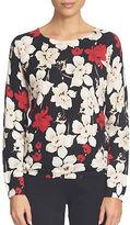 CeCe Cosmic Floral Printed Raglan Pullover