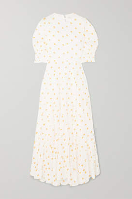 Rixo Agyness Tiered Floral-print Voile Maxi Dress - White