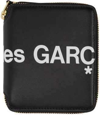 Comme des Garcons Wallets Wallets Black Huge Logo Zip Around Wallet