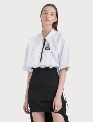 Burberry Short-sleeve Rib Knit Detail Cotton Oversized Shirt