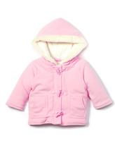 Rockabye Baby Rock A Bye Baby Girls' Fleece Jackets PINK - Pink Fuzzy-Trim Hooded Duffel Coat - Newborn & Infant