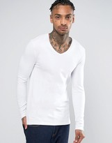 Asos Extreme Muscle Long Sleeve T-Shirt With V Neck In White