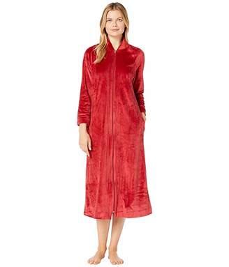 Carole Hochman Plush Velour Long Zip Robe