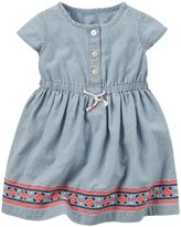 Carter's Embroidered Dress (Baby) - Denim - 3 Months