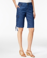 Style&Co. Style & Co Style & Co Petite Ruched-Hem Chambray Cargo Bermuda Shorts, Created for Macy's