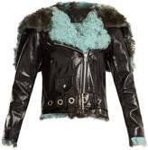 Marques Almeida MARQUES'ALMEIDA Hooded shearling-trimmed leather jacket