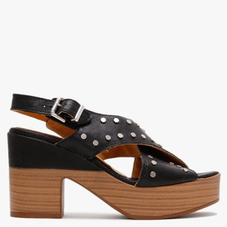 Alpe Vigo Black Leather Studded Platform Sandals
