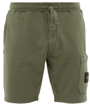 Stone Island Patch-pocket Cotton-jersey Track Shorts - Mens - Green