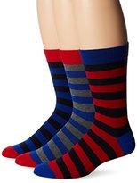 Ben Sherman Men's 3 Pack Waldo Crew Socks, Red/Blue, One Size