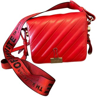 Off-White Off White Binder Red Leather Handbags