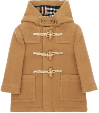 Burberry Hood Wool Duffle Coat W/ Check Interior