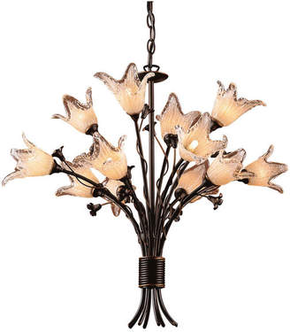 Elk Fioritura 12-Light Chandelier, Aged Bronze And Hand Blown Tulip Glass
