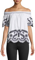 Neiman Marcus Off-The-Shoulder Embroidered Short-Sleeve Blouse