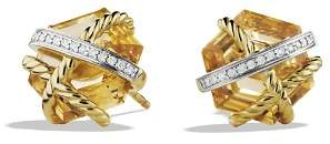 David Yurman Cable Wrap Earrings with Champagne Citrine & Diamonds in Gold