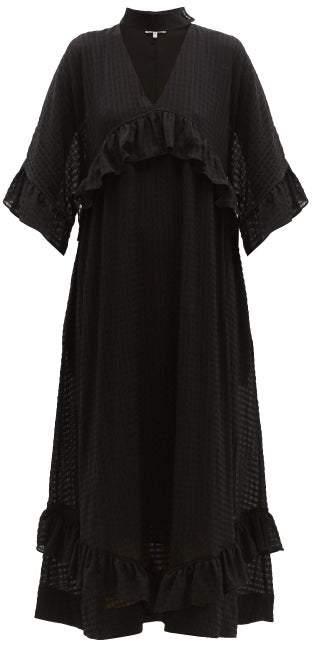 buying cheap official supplier 50% off Ruffled Seersucker Midi Dress - Womens - Black