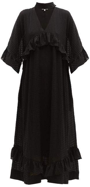 Ganni Ruffled Seersucker Midi Dress Womens Black Shopstyle