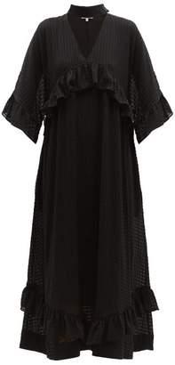 Ganni Ruffled Seersucker Midi Dress - Womens - Black