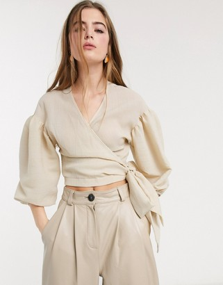 Lost Ink wrap top with balloon sleeves and tie back in seersucker-Beige
