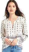 Gap Print split-neck blouse