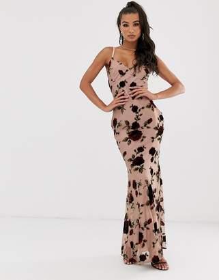 House Of Stars Rose devore maxi slip dress