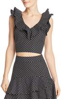 Lucy Paris Belen Ruffled Polka Dot Cropped Top - 100% Exclusive