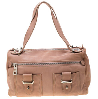 Marc Jacobs Peach Leather Double Buckle Pocket Boston Bag
