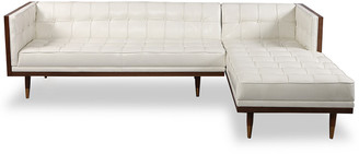 808 Home Woodrow Leather Mid-Century Modern Right Sectional Box Sofa