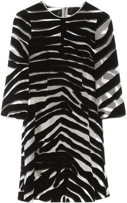 Dolce & Gabbana Flocked Zebra Print Mini Dress